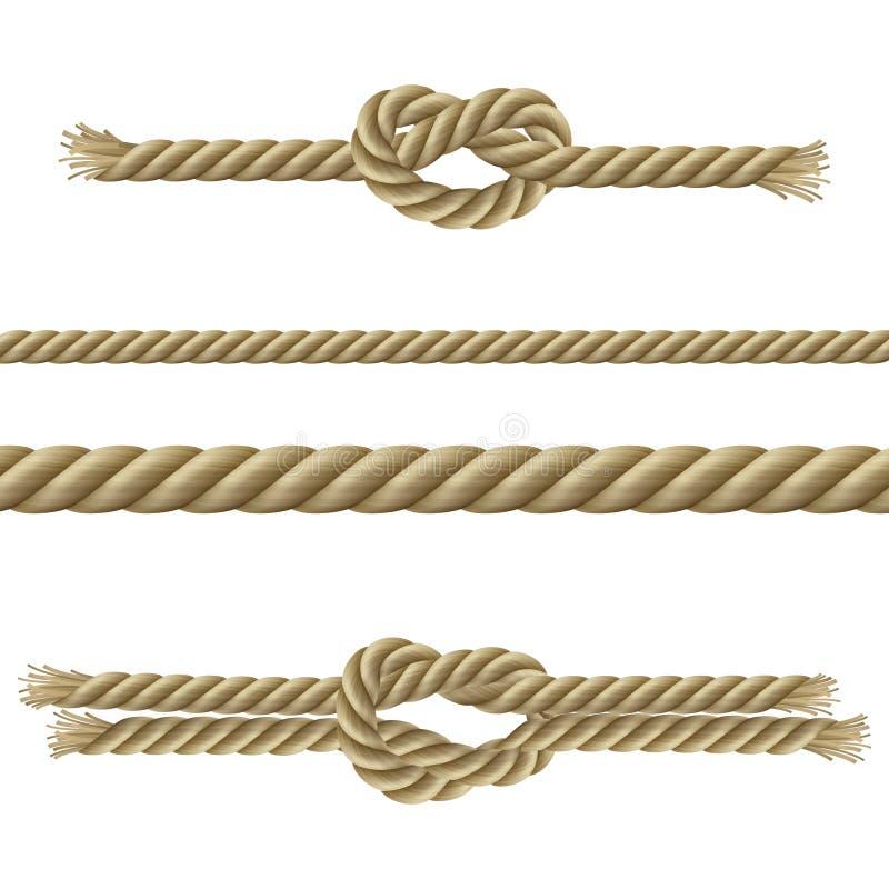 Dekorativ uppsättning för rep stock illustrationer
