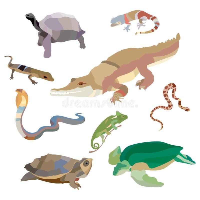 Dekorativ uppsättning för reptilar och för amfibier av isolerade symboler för krabba för skorpion för snigel för kobrakrokodilskö royaltyfri illustrationer