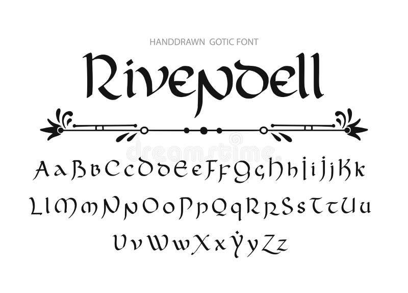 Dekorativ utformade bokstäver för tappning magi Vektorskrift vektor illustrationer