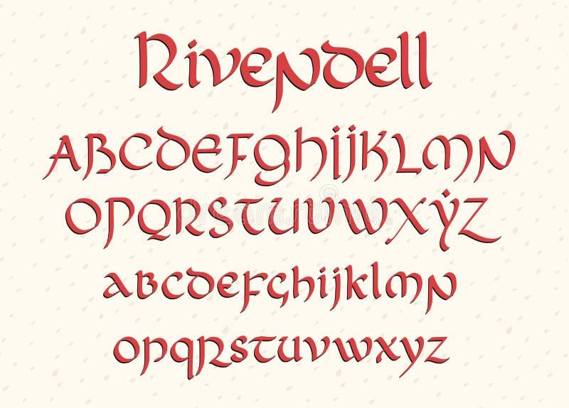 Dekorativ utformade bokstäver för tappning magi Vektorskrift stock illustrationer