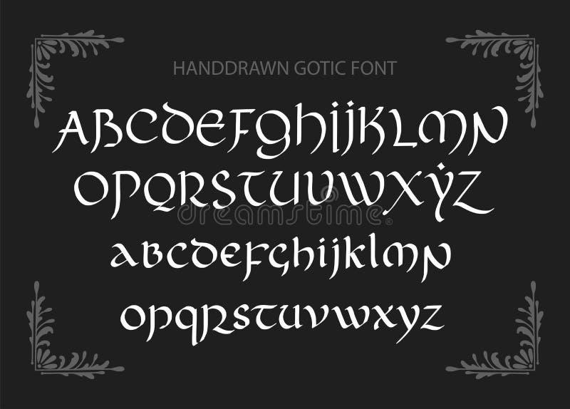 Dekorativ utformade bokstäver för tappning magi Vektorskrift royaltyfri illustrationer