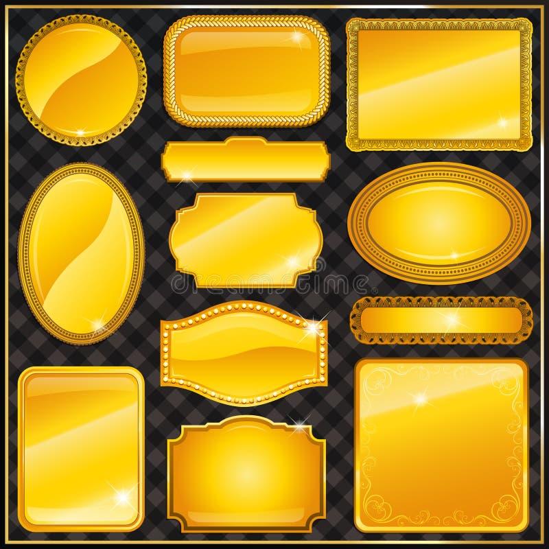 Dekorativ utsmyckad guldrametikett vektor illustrationer