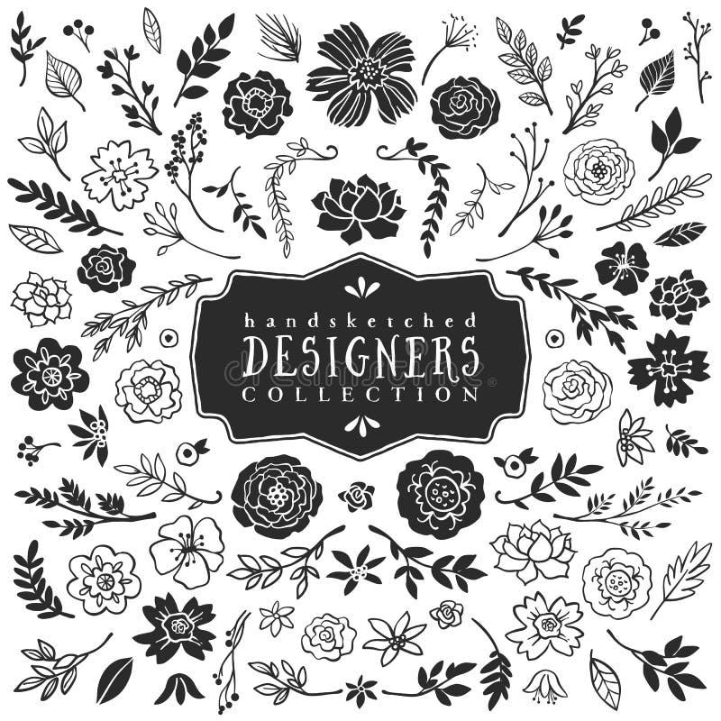 Dekorativ växt- och blommasamling för tappning tecknad hand stock illustrationer