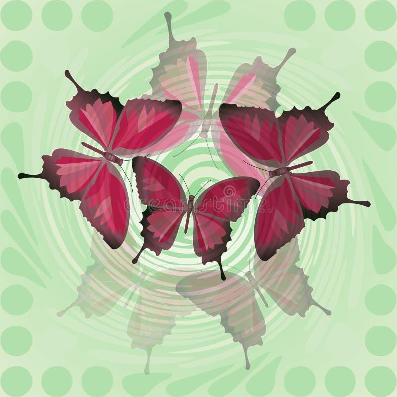Dekorativ vår för fantasi eller sommartegelplatta med rött fjärilsmotiv stock illustrationer