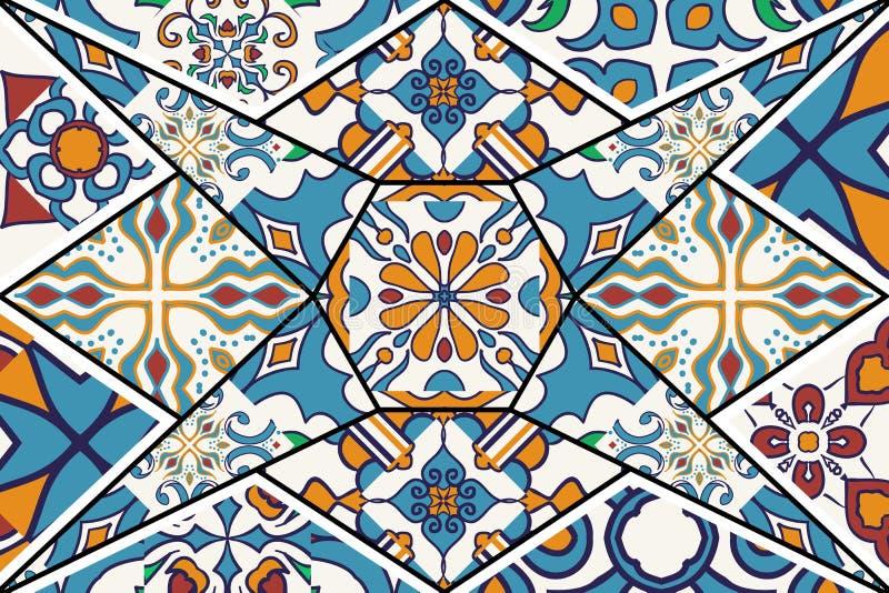 dekorativ vektor för bakgrund Mosaisk patchworkmodell för design och mode vektor illustrationer
