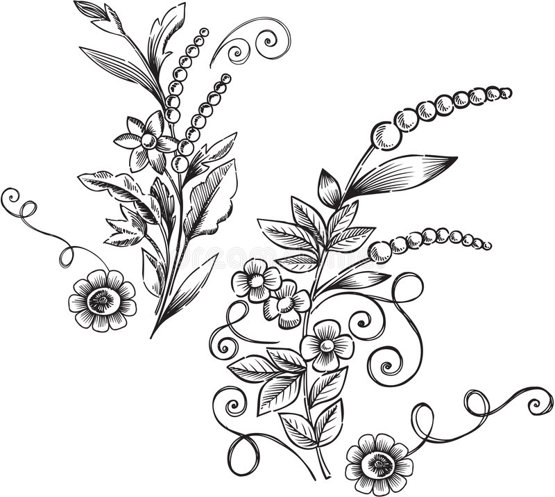 dekorativ vektor för blom- illustration stock illustrationer