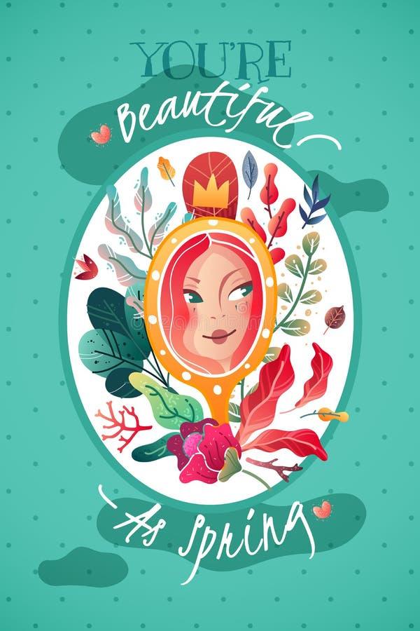 Dekorativ vertikal affischvykort tilldelad för att fjädra och kvinnlig skönhet royaltyfri illustrationer