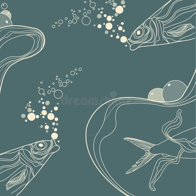 dekorativ wive bandtappning för fisk stock illustrationer