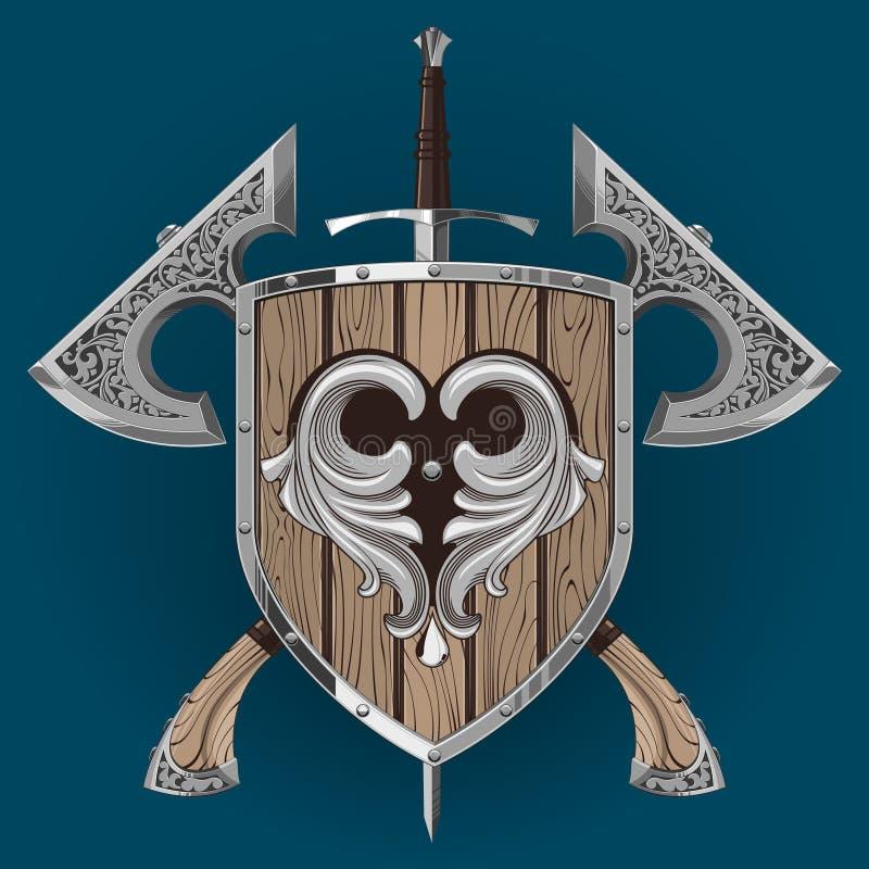 Dekorativ yxa för svärdoäkting stock illustrationer