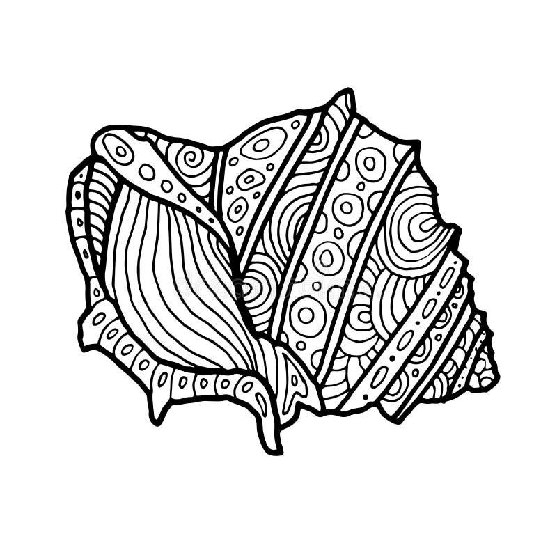 Dekorativ Zentangle havsShell illustration Översiktsteckning Färgläggningbok för vuxen människa och barn Färga sidan vektor royaltyfri illustrationer