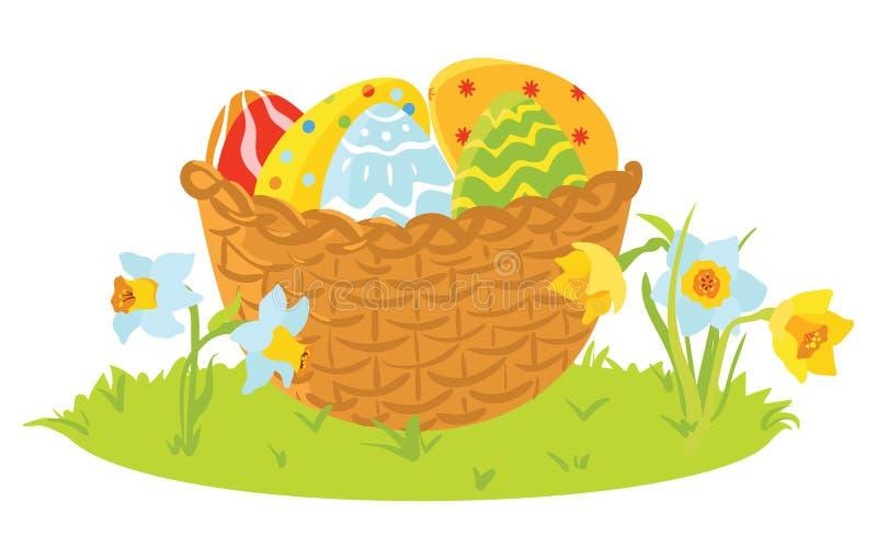 Dekorativa ägg för påsk i en korg med blommor stock illustrationer