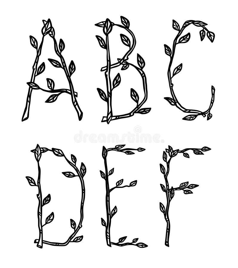Dekorativa alfabetbokstäver som göras av trädfilialer royaltyfri illustrationer