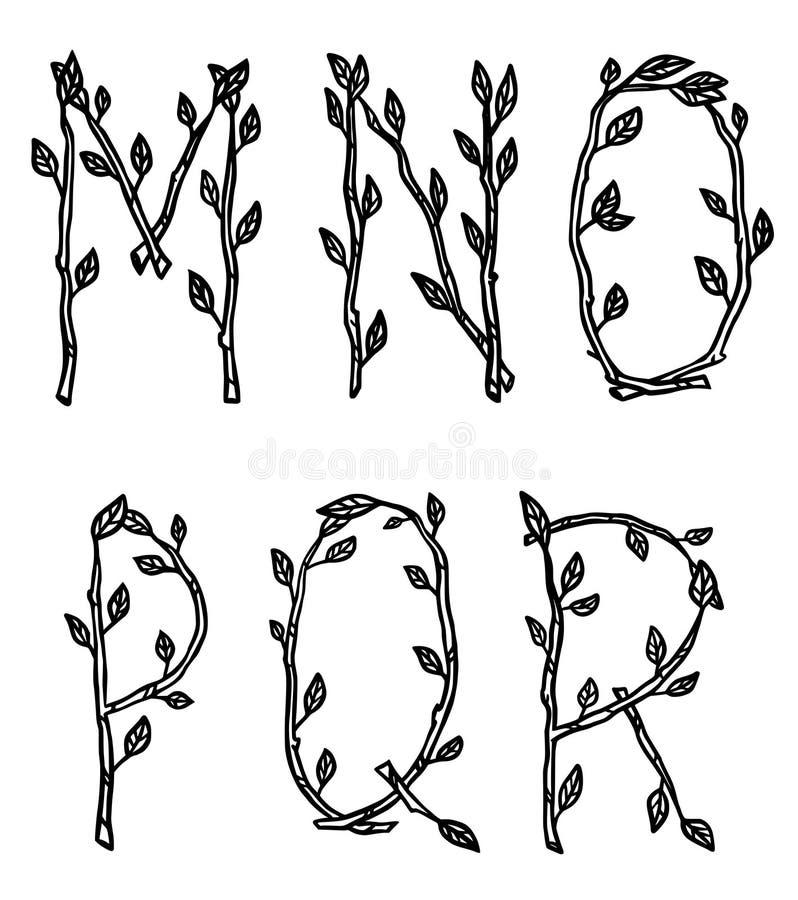 Dekorativa alfabetbokstäver som göras av trädfilialer stock illustrationer