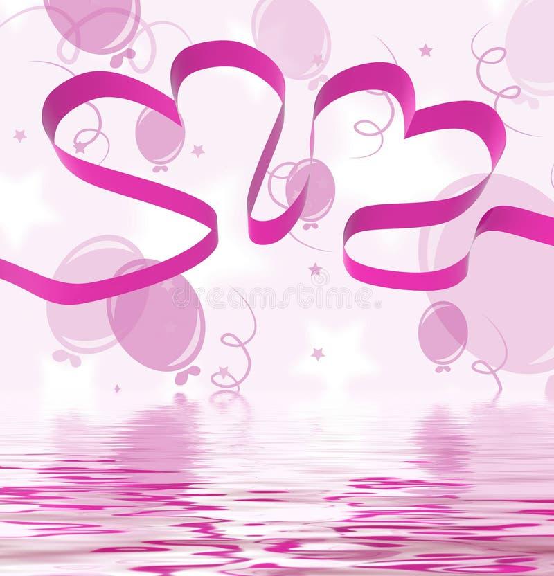 Dekorativa bandhjärtaskärmar och idérikt rosa färgband stock illustrationer