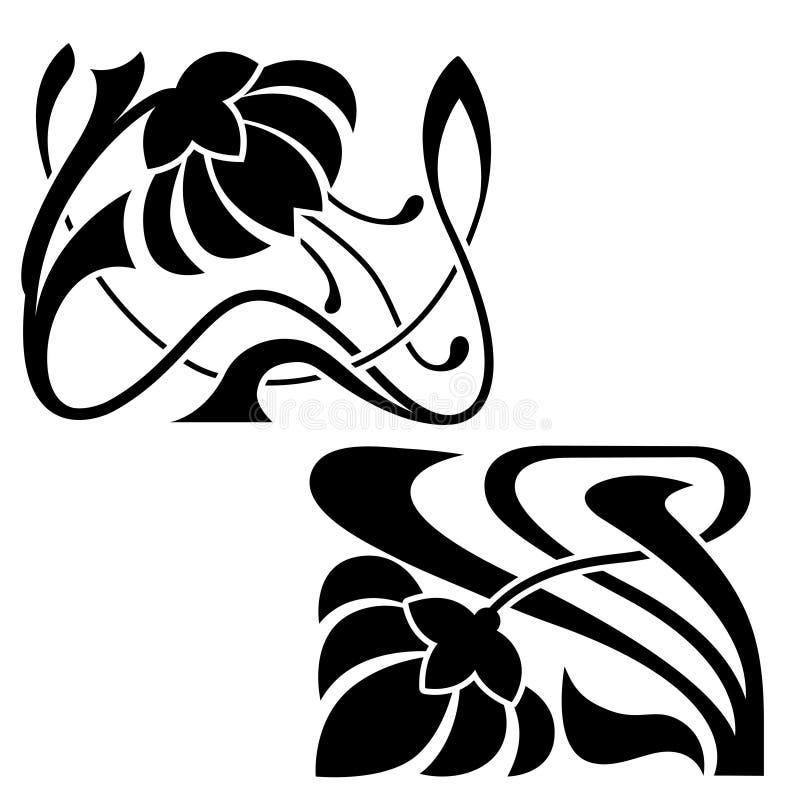 Dekorativa beståndsdelar för Art Nouveau stil vektor illustrationer