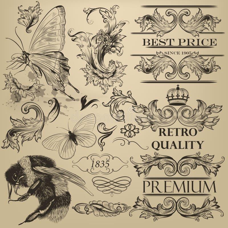 Dekorativa beståndsdelar för tappningvektor för design stock illustrationer