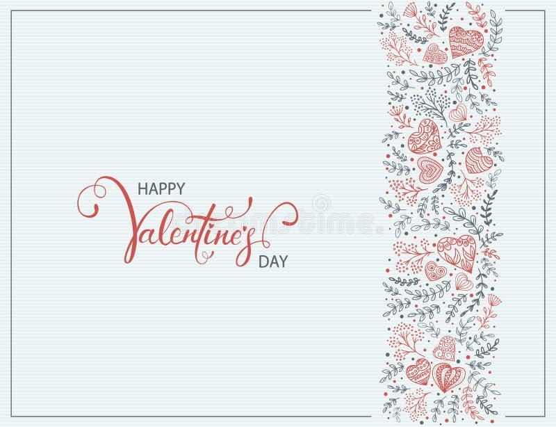 Dekorativa beståndsdelar för valentin på blå bakgrund stock illustrationer