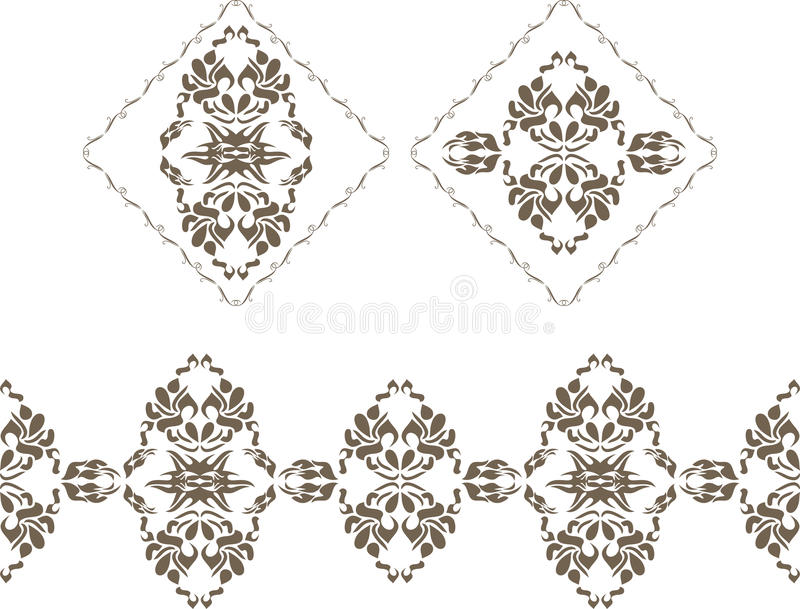 Dekorativa beståndsdelar och gräns för dekoren som isoleras på viten vektor illustrationer