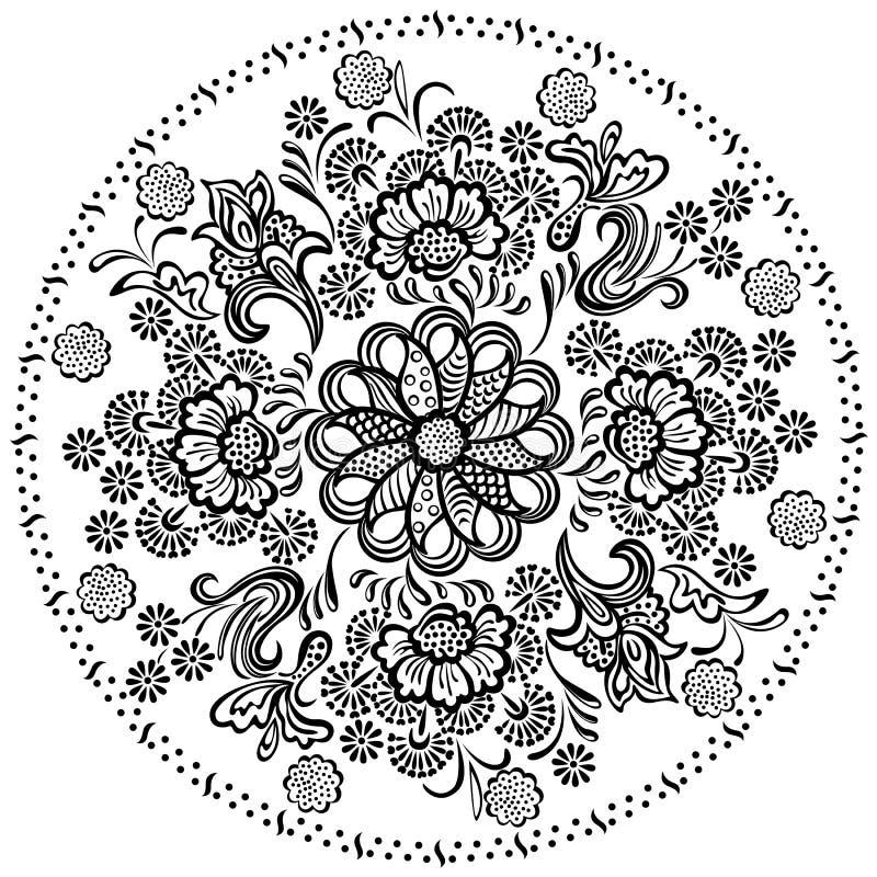 Dekorativa blom- beståndsdelar för Mandalamodell royaltyfri illustrationer