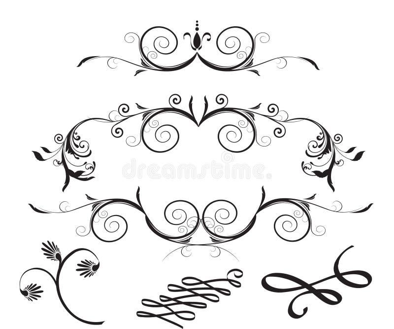 dekorativa blom- designelement royaltyfri illustrationer