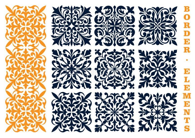 Dekorativa blom- modellgränsbeståndsdelar vektor illustrationer