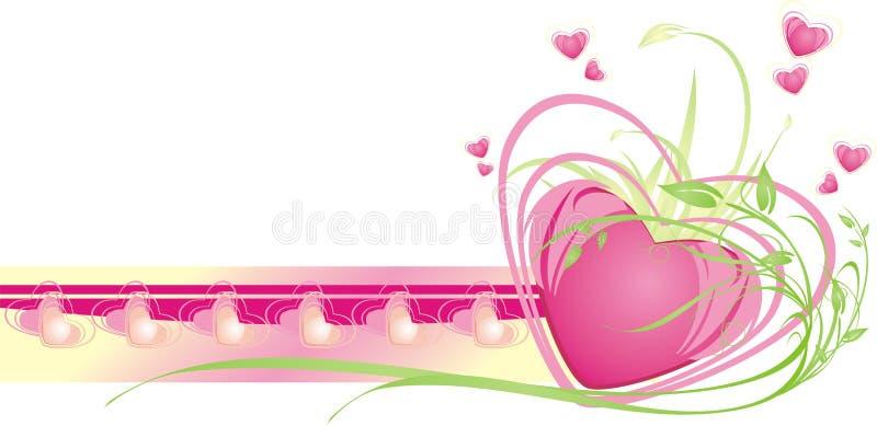 dekorativa blom- ramhjärtor för kort stock illustrationer