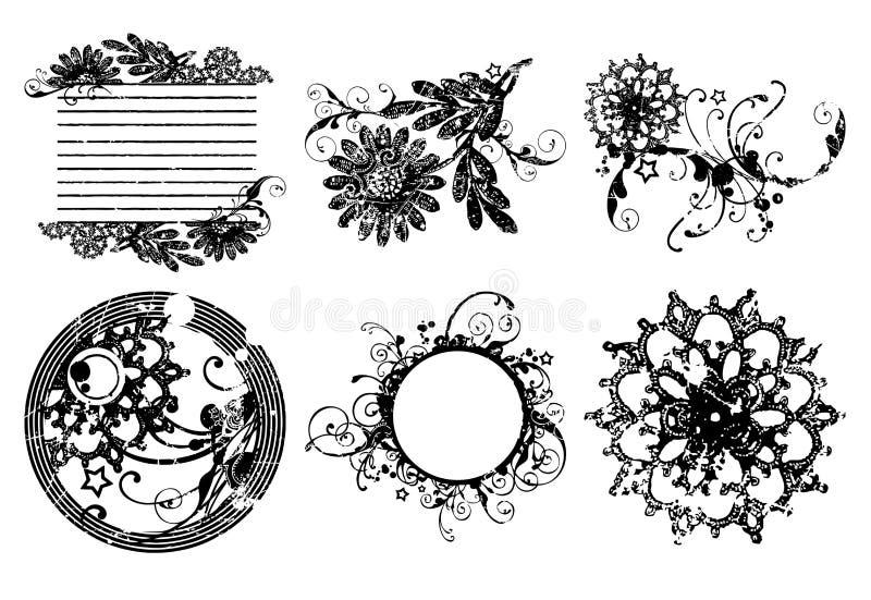 dekorativa blommaramar för cirkel vektor illustrationer
