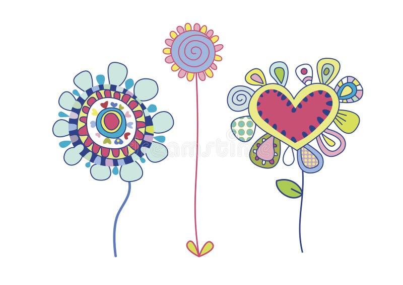 dekorativa blommor stock illustrationer