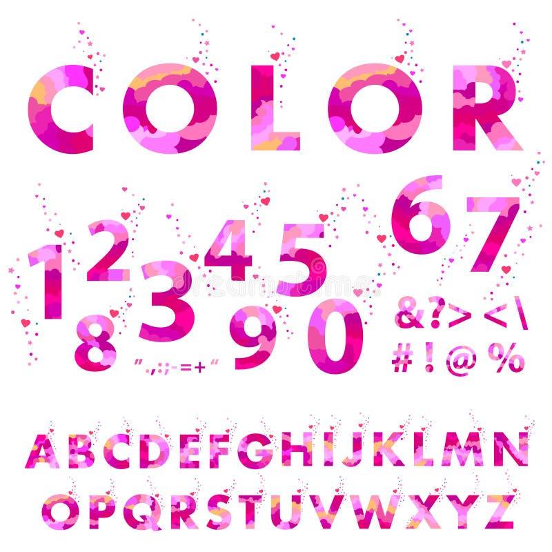 Dekorativa bokstäver för pastellfärgade rosa färger som isoleras på vit bakgrund stock illustrationer