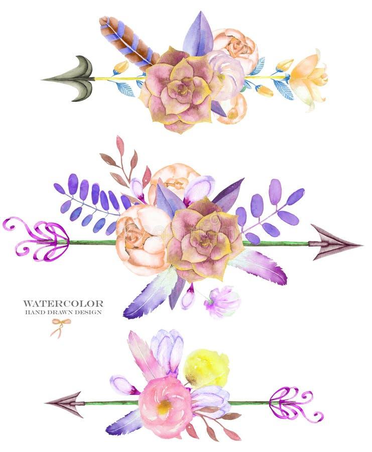 Dekorativa buketter med de blom- beståndsdelarna för vattenfärg: suckulenter, blommor, sidor, fjädrar, pilar och filialer vektor illustrationer