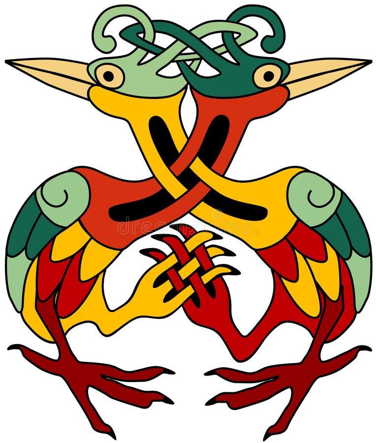 dekorativa celtic herons stock illustrationer