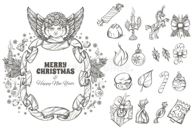Dekorativa designbeståndsdelar för jul och för nytt år stock illustrationer