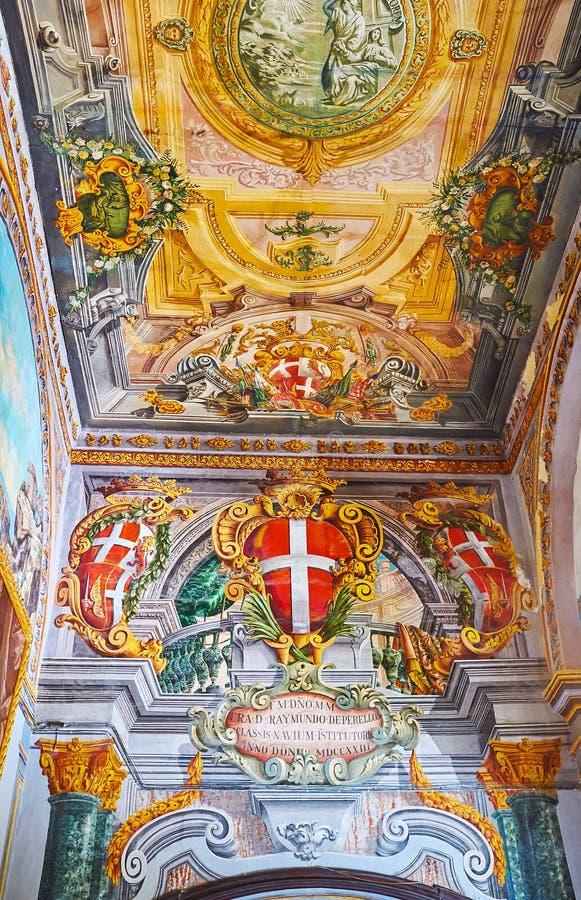 Dekorativa detaljer av slotten för Grandmaster` s i Valletta, Malta arkivfoton