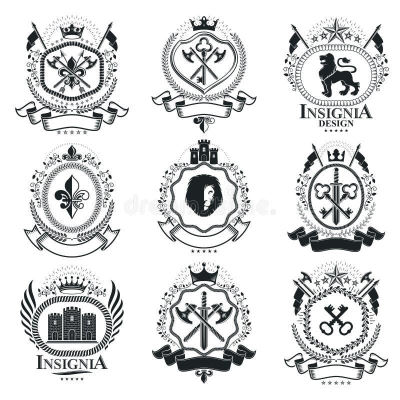 Dekorativa emblemsammansättningar för tappning, heraldiska vektorer grupp stock illustrationer