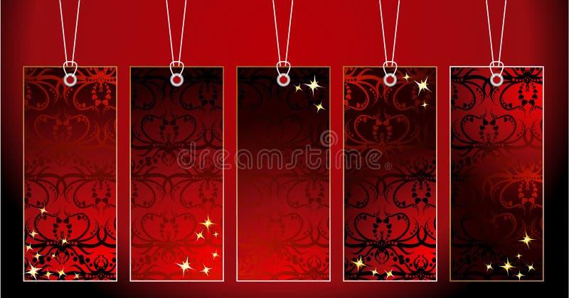 dekorativa etiketter royaltyfri illustrationer
