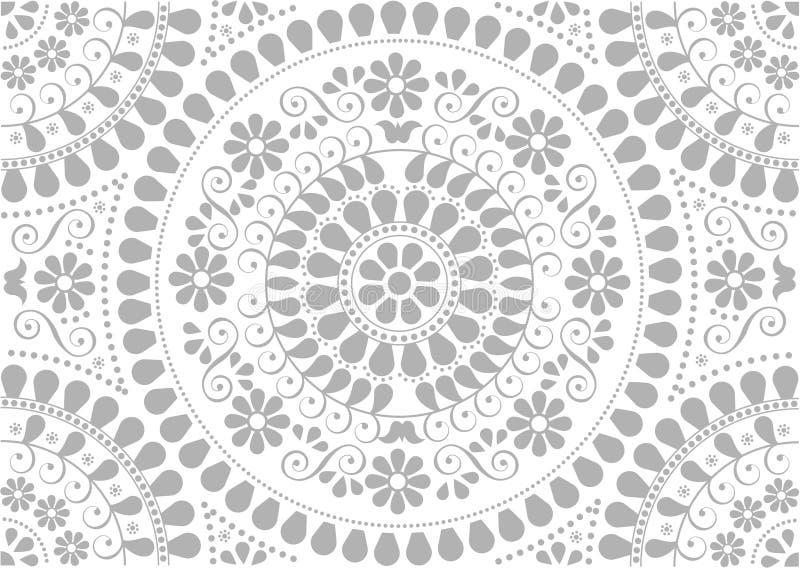 dekorativa folk gråa bevekelsegrunder för bakgrund stock illustrationer