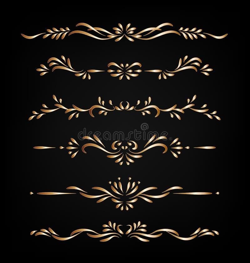 Dekorativa dekorativa gränser för guld- vektor som isoleras på mörk bakgrund royaltyfri illustrationer