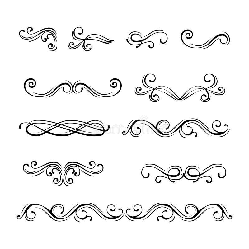 Dekorativa gränser och avdelare för krusidulltappningsida , kunglig prydnad vektor vektor illustrationer