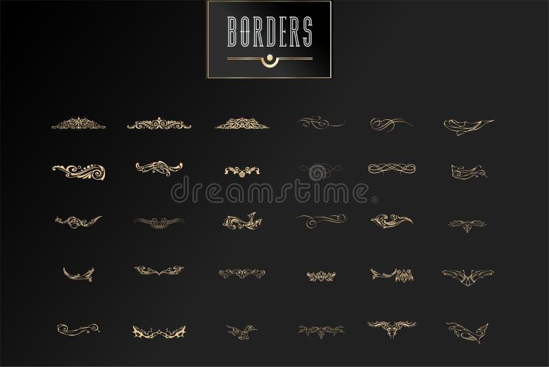 Dekorativa gränser och krusidullhörn, den kungliga prydnaden virvlar runt och avdelare för vektortappningsidan Klassisk garnering royaltyfri illustrationer