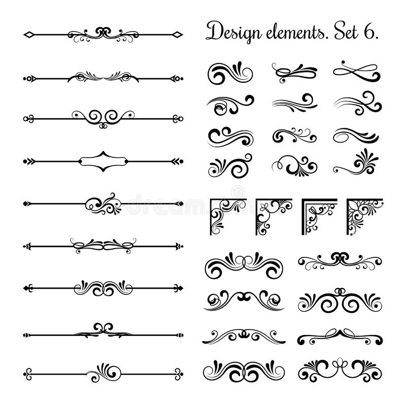 Dekorativa gränser och krusidullhörn, kungliga avdelare för sida för tappning för prydnadvirvelvektor stock illustrationer