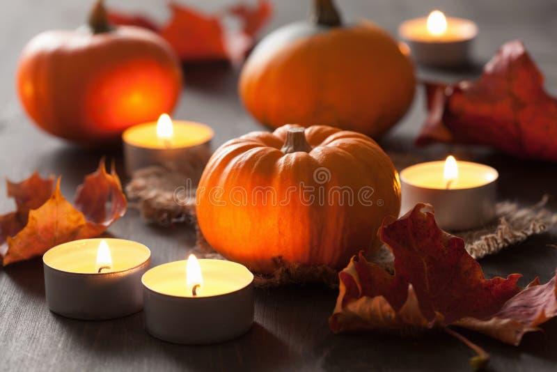 Dekorativa halloween pumpor och stearinljus fotografering för bildbyråer