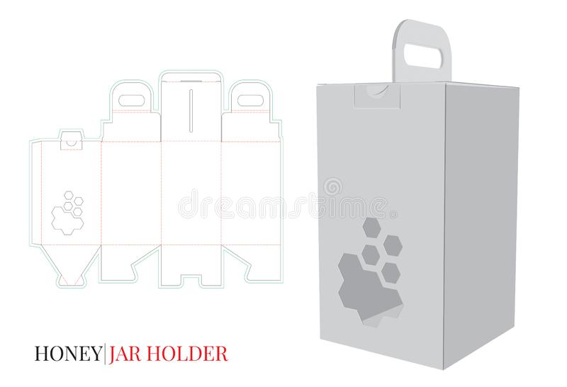 Dekorativa Honey Box, Honey Jar Holder Illustration Vektorn med stansat/laser klippte lager stock illustrationer