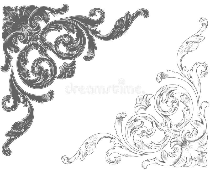dekorativa klassiska hörn stock illustrationer
