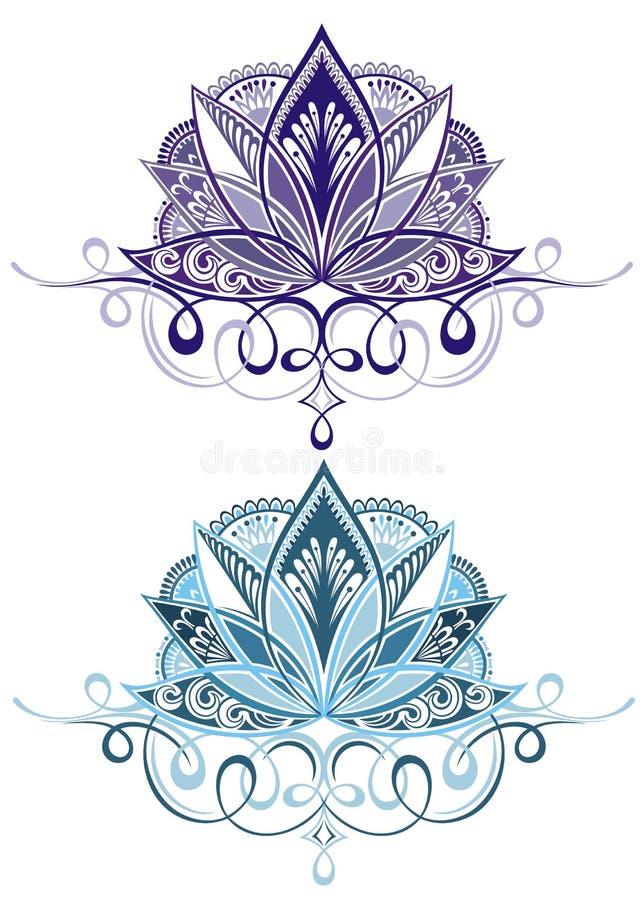 Dekorativa lotusblommor stock illustrationer