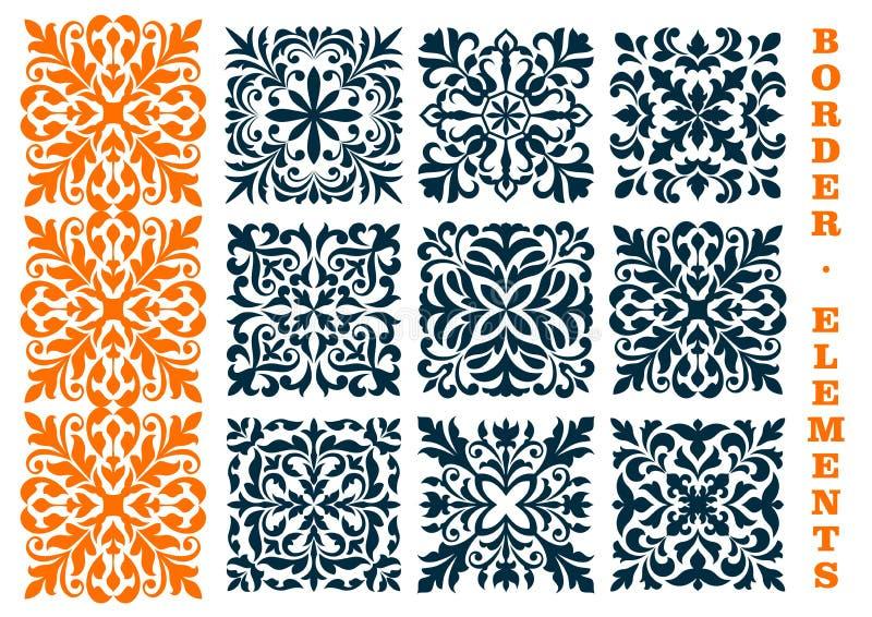 Dekorativa openwork blom- gränsmodeller vektor illustrationer