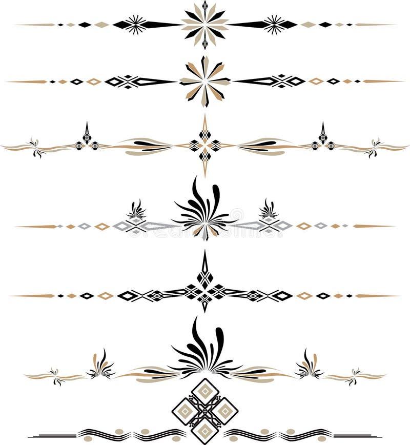 Dekorativa prydnader eps10 för vektorfärg arkivbilder