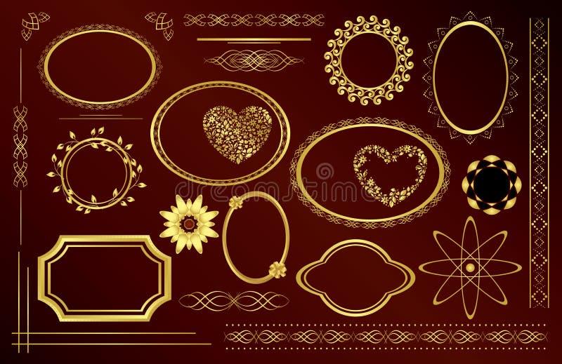 Dekorativa ramar för guld - set - vektor vektor illustrationer