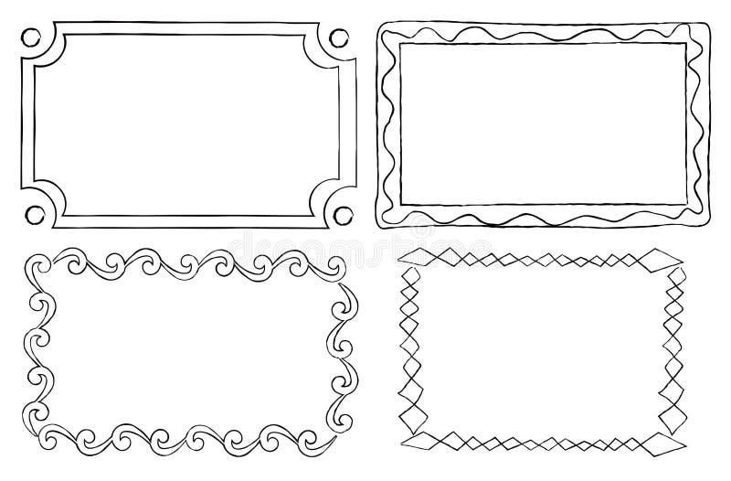 Dekorativa ramar för tappning i linjär grafisk stil vektor illustrationer