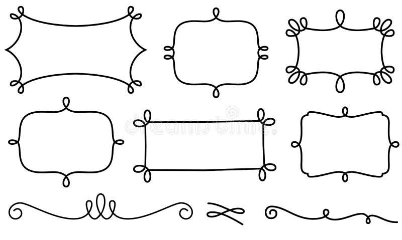Dekorativa ramar och designbeståndsdelar royaltyfri illustrationer