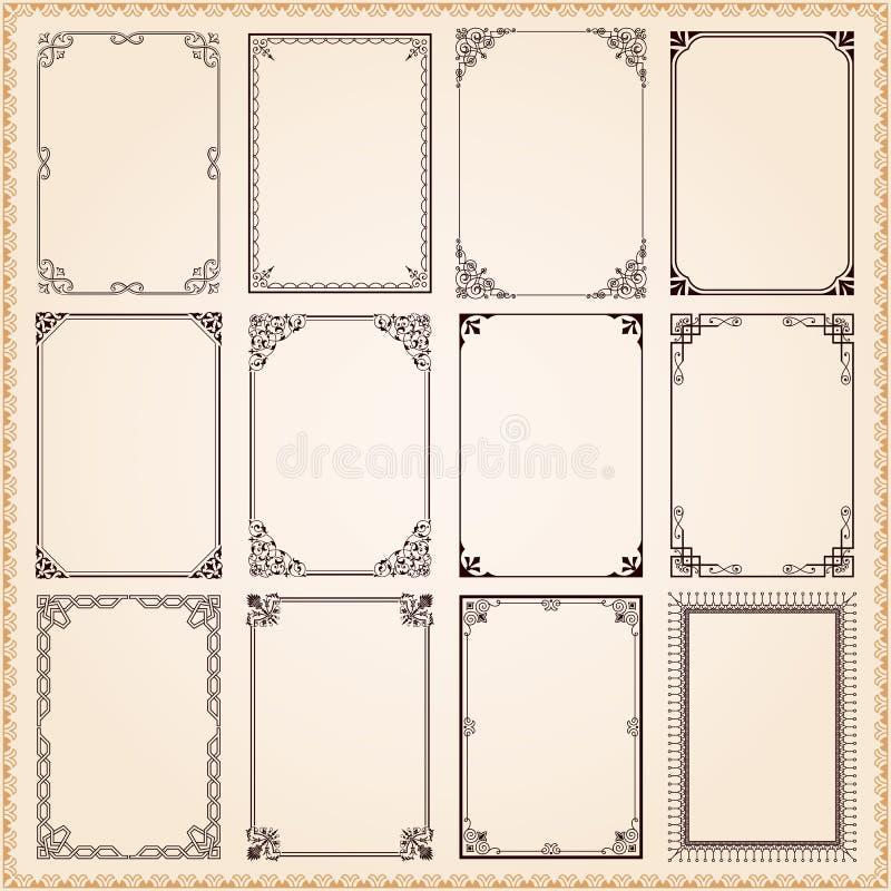 Dekorativa ramar och gränser royaltyfri illustrationer